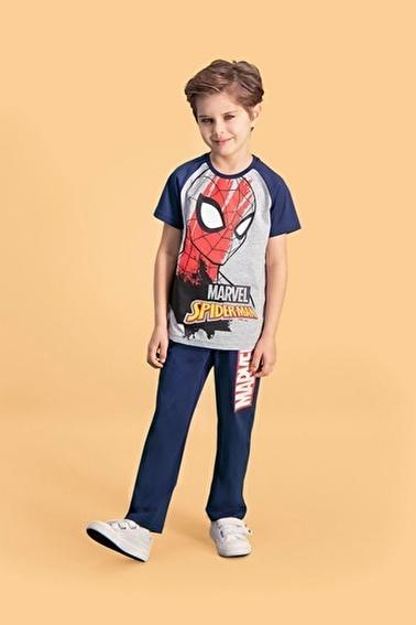 Spider-Man Spider Man Lisanslı Krem Erkek Çocuk Pijama Takımı Gri